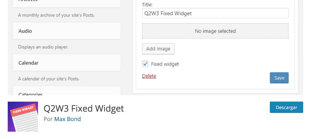 Plugins de WordPress -Q2W3-Fixed-Widget